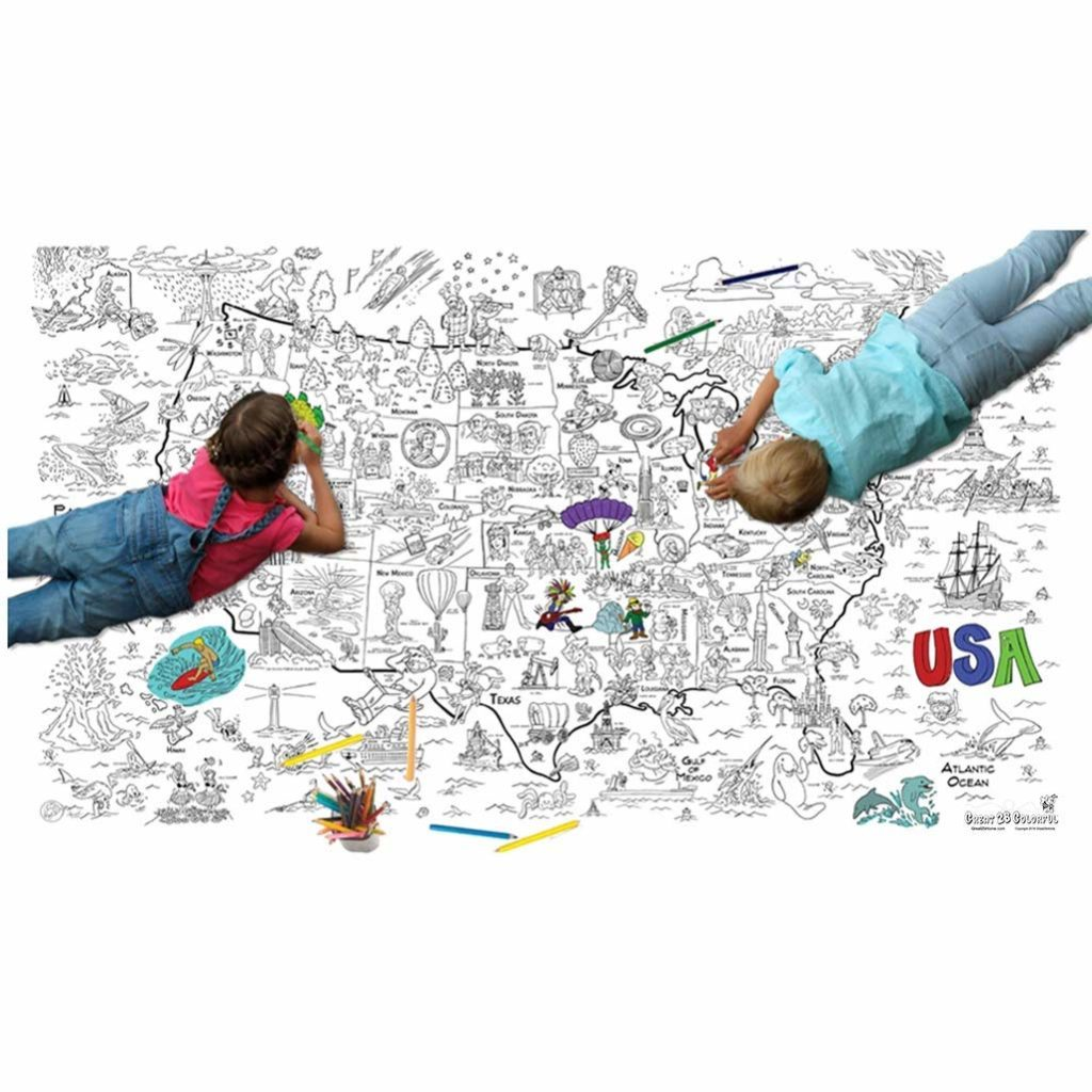 two kids coloring on gigantic color book