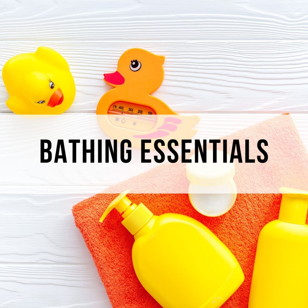 bathing essentials for babies- a duck and soap