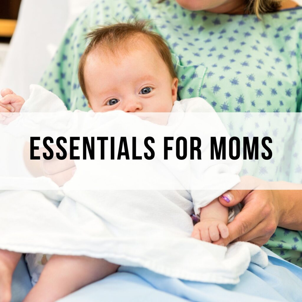 postpartum, delivery, birthing and pregnancy essentials for moms